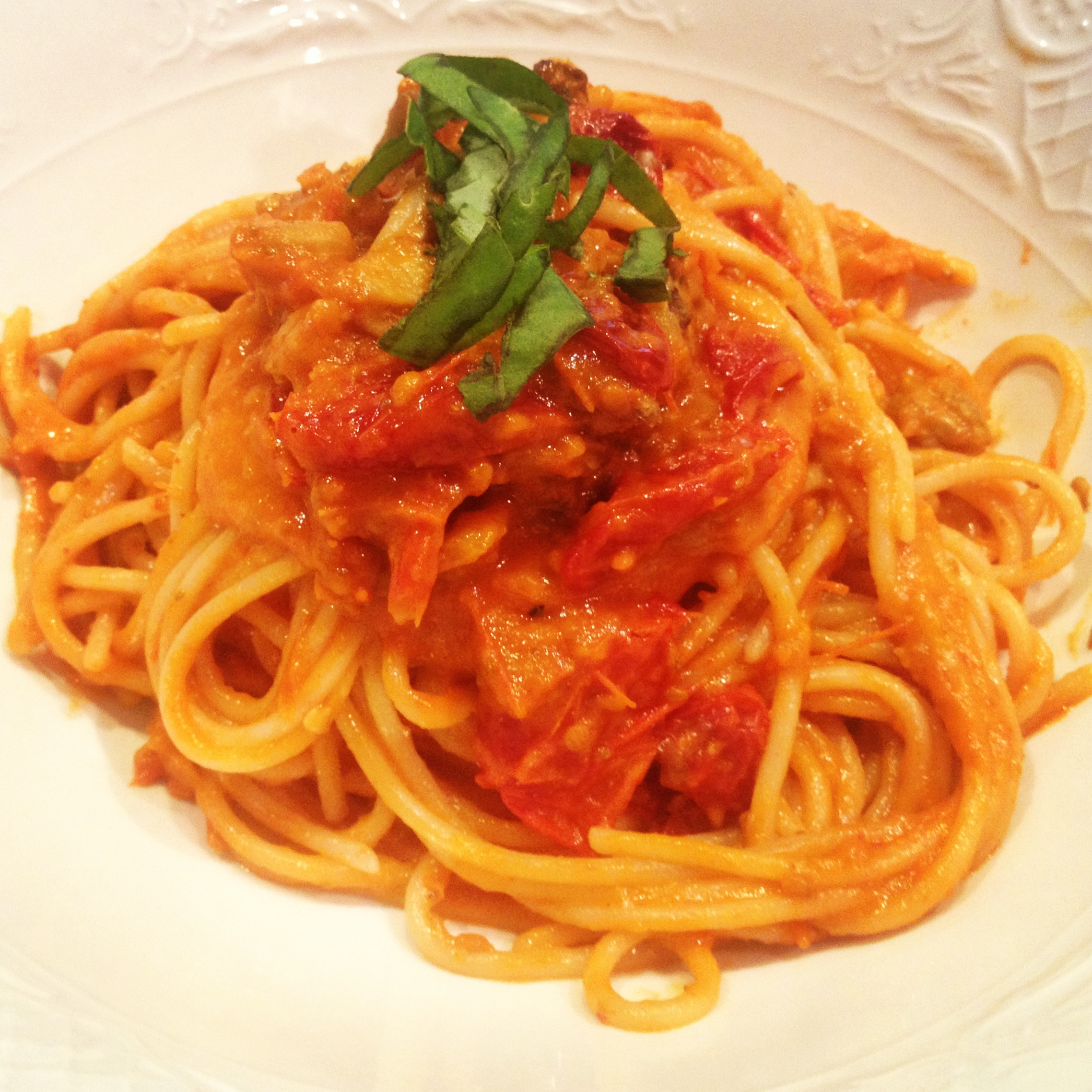 Slow Roasted Tomato and Eggplant Pasta | LINKEDONHEALTH